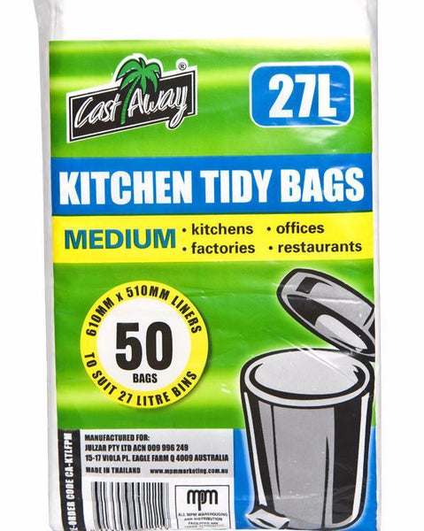 Bags Kitchen Tidy Medium 27Lt 610x510mm Flat 50's Pkt *