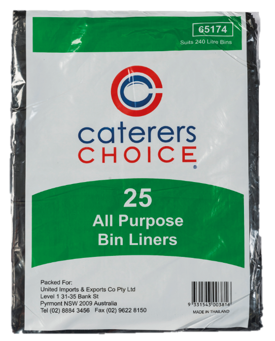 Bags Garbage 240lt Black All Purpose 8x25's Ctn  *