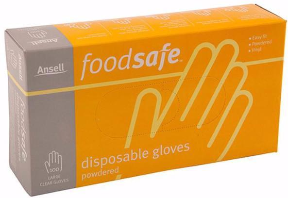 Gloves Food Safe Clear Large Powdered 100's Pkt  *