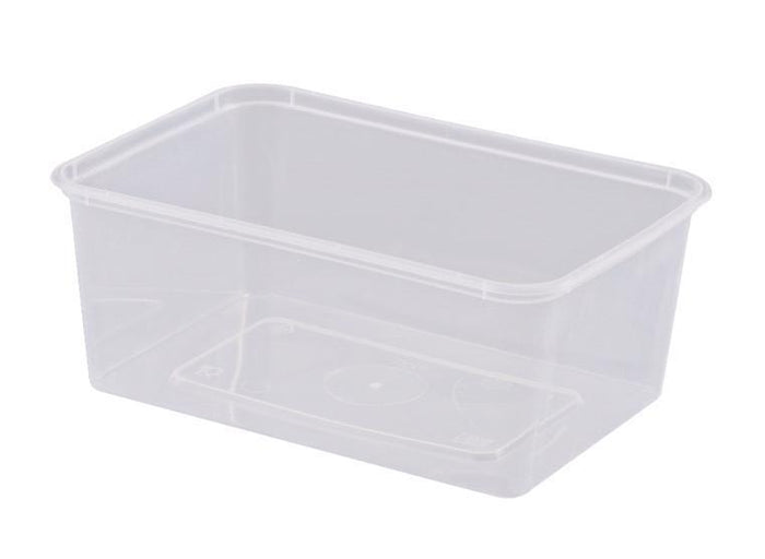 Container Rectangle 1000ml Plastic Microwavable 100's Slv  *