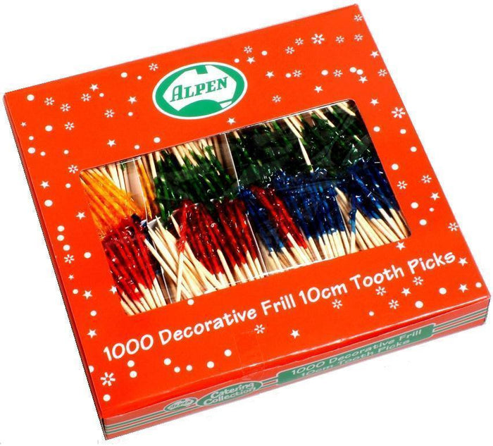 Toothpicks Frilled 10cm 1000's Pkt  *