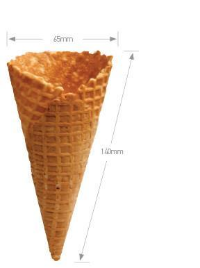 Ice Cream Cones Waffle Natural 65mmx140mm 240's Ctn  *