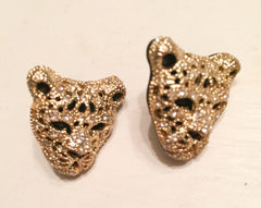 NOW SOLD Rhinestone Tiger Earrings Gold Tone, Vintage Jewelry