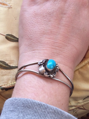 NOW SOLD Native American Turquoise Bracelet Bangle, Vintage Jewelry