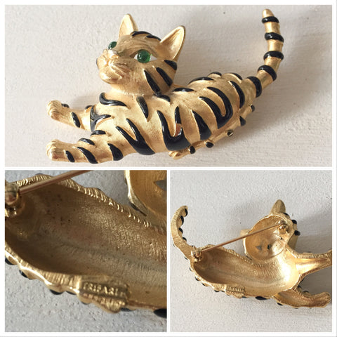 Trifari Cat Brooch, Vintage Jewelry