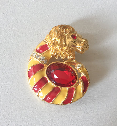 Red Enamel Lion Brooch, Glass, Vintage Jewelry