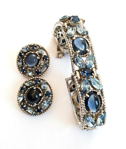 Barclay Blue Glass Bracelet with Earrings, Mid Century Vintage Jewelry