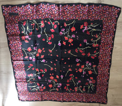 NOW SOLD Botanical Pink Silk Scarf, Black Background