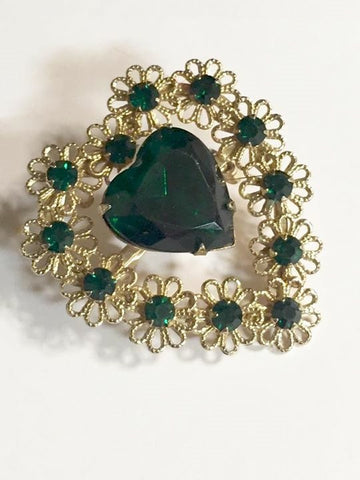 Green Glass Heart Brooch 1940s Vintage Jewelry