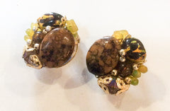 Brown Lucite Earrings Hong Kong 1950s Vintage Jewelry
