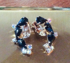 Black Glass Earrings, Ear Climbers