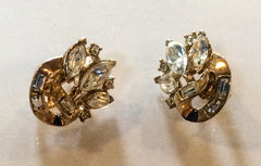Crown Trifari Earrings Glass Navettes and Baguettes Vintage Jewelry