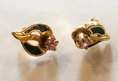 Blue Enamel, Pink Rhinestone Pierced Earrings 1970s Vintage Jewelry
