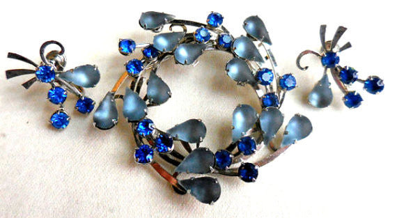 SOLD Satin Glass Wreath Brooch and Earrings Set, Blue Rhinestone, Moonstone, Art Deco 1940s
