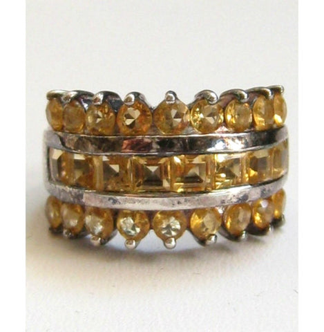 NOW SOLD Amber Rhinestone Ring Sterling Silver, 1960s Vintage Jewelry
