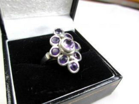 NOW SOLD Modernist Ring, Amethyst Sterling Silver, Art Deco Revival