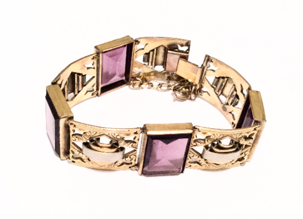 NOW SOLD Art Deco Amethyst Bangle Bracelet, Fine Jewelry