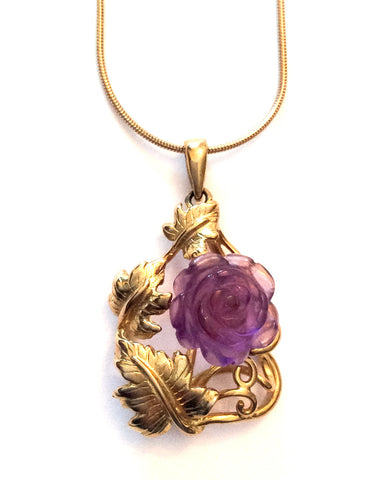 NOW SOLD Gold Amethyst Pendant, Carved Rose, 10K Gold Fine Jewelry