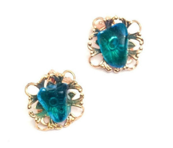 NOW SOLD Aqua Blue Earrings Gold Tone, Wedding, Vintage Jewelry