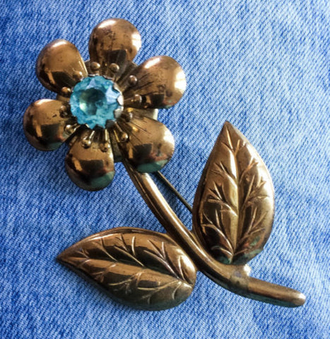 Aquamarine Flower Brooch, Czech Glass, 1940s Vintage Jewelry, NEW YEAR SALE