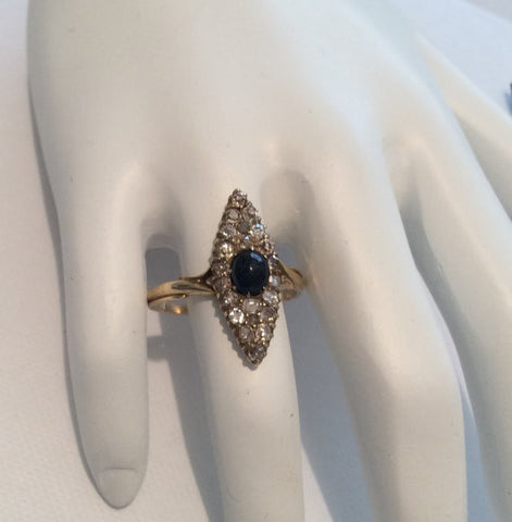 NOW SOLD Art Deco Diamond Sapphire Ring, 18K Gold, Engagement, Wedding, Russian Vintage Fine Jewelry