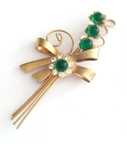 SOLD Art Deco Flower Pin, Green Cabochon with Rhinestone Brooch, 1940s Vintage Jewelry