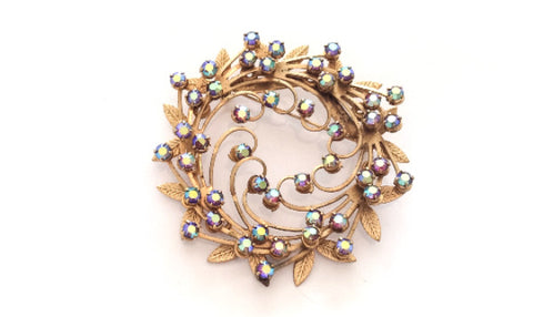 NOW SOLD Aurora Borealis Rhinestone Pin, Wreath Brooch, 1940s Vintage Jewelry