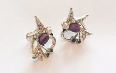 NOW SOLD Bird Earrings, Pink Moonglow, Pearl, Rhinestone, Screw Back, Art Deco, Vintage Jewelry