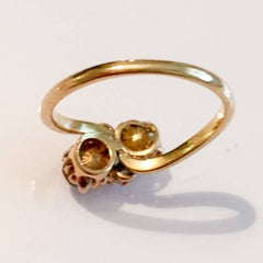 Diamond Ring, 18K Gold, Toi et Moi Bypass, 1 Carat Combined
