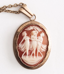 SOLD Art Deco Shell Cameo Pendant, Three Graces, 10K Gold, 1940s Vintage Fine Jewelry