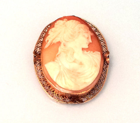 NOW SOLD Cameo Lady Pin or Brooch, Victorian, 14K Gold, Pre Raphaelite, Art Deco Vintage Fine Jewelr