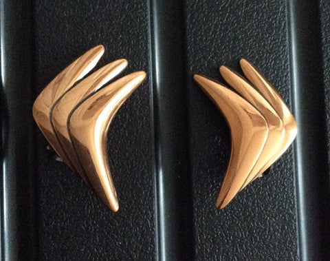 NOW SOLD Modernist Copper Earrings, 1960s Vintage Jewelry