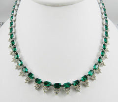 NOW SOLD Art Deco 1940s Necklace, Emerald Green Crystal Glass, Rhinestone, Rhodium Finish Vintage Jewelry