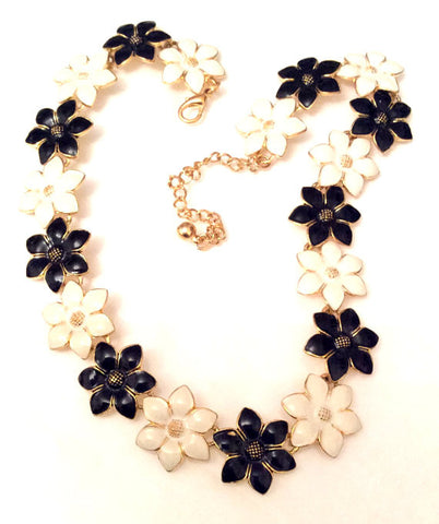 NOW SOLD Flower Necklace, Black and White Enamel, Vintage Jewelry,