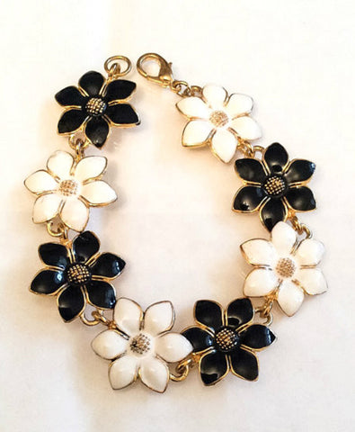 NOW SOLD Black and White Enamel Flower Bracelet, Vintage Jewelry
