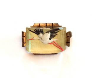 NOW SOLD Essex Glass Pin or Brooch, Flying Bird, Crane, Art Deco 1930s Vintage Jewelry