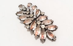 NOW SOLD Frosted Glass Brooch, Givre, Rhinestone Pin, 1950s Vintage Jewelry