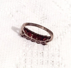 Garnet Ring, Anniversary, Sterling Silver Vintage Jewelry
