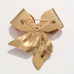 NOW SOLD Large Golden Bow Brooch with Pearls 1960s Vintage Jewelry