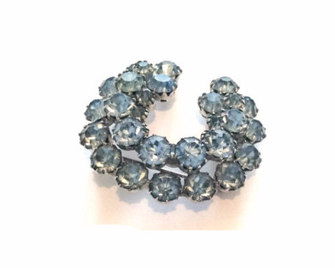 SOLD Horseshoe Brooch, Good Luck, Blue Rhinestone, Dimensional, 1940s Art Deco Vintage Wedding Jewelry