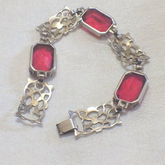Red Glass  Bracelet, Sterling Silver, Art Deco Vintage Jewelry