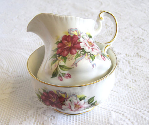 Paragon China Sugar Bowl and Creamer, Wedding Bouquet Collection, Camelia, WINTER SALE
