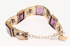 NOW SOLD Amethyst Bracelet, Gold Fill, Sterling Silver, 1920s Art Deco Vintage Jewelry SUMMER SALE