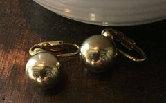 Gold Tone Ball Earrings, 1950s Clip Ons Vintage Jewelry