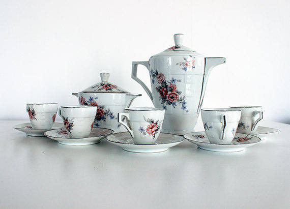 Art Deco, French Antique Limoges Coffee Set or Service
