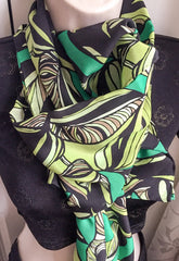 "Long Silk Scarf, 65"" by 14"" Abstract Flowers, Black Green, Skinny Scarf, Vintage Fabric Charlotte Sparre"