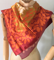 "Russett Brown with Gold Leaf Polyester Scarf, 35"" Atmosphere Vintage Accessory"