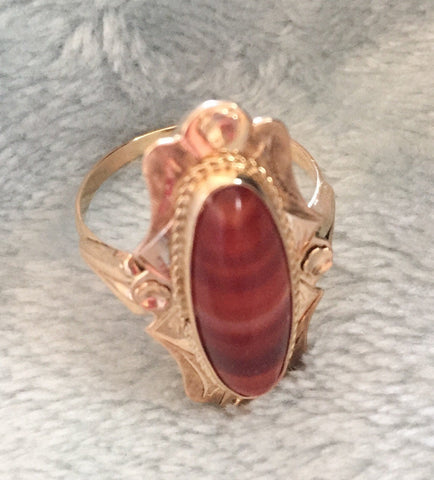 Banded Carnelian Ring, 14K Gold Ring, Art Nouveau Vintage Jewelry