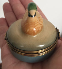 Limoges Porcelain French Trinket Box, Duck, Blue, Brown Peint Main Vintage Collectible