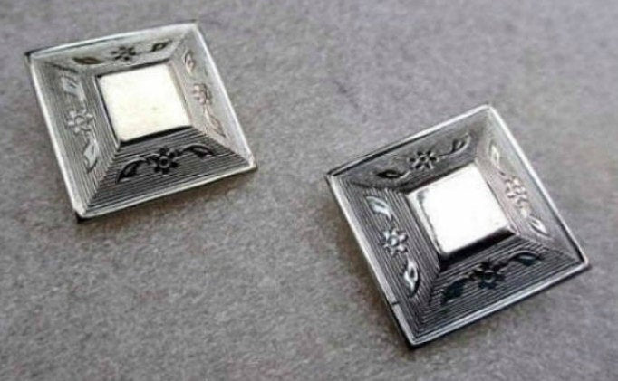 Silver Engraved Earrings, Victorian Revival, 1950s Vintage Jewelry
